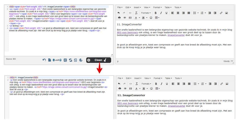 HTML Tekst tool