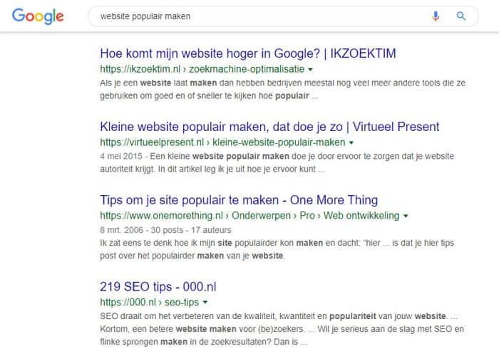 website populair maken
